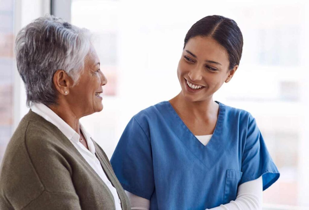 Nurse with older woman